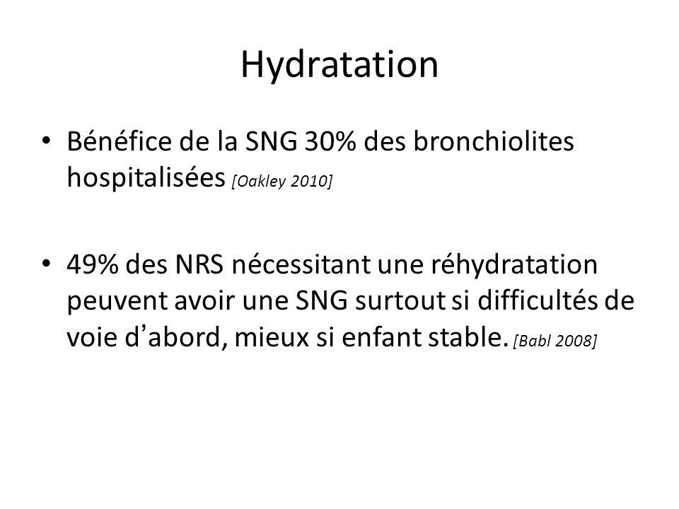 Hydratation Bénéfice de la SNG 30% des bronchiolites hospitalisées [Oakley 2010]